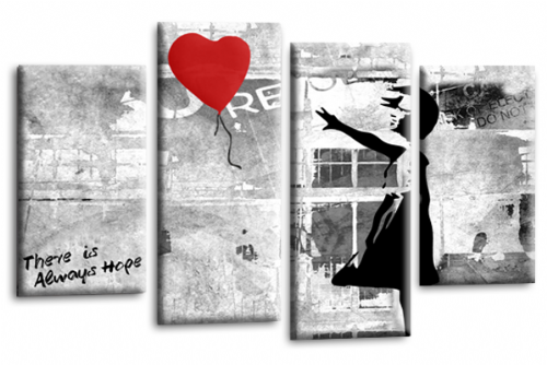 Banksy Art Red Balloon Girl Multi Wall Picture Love Peace Hope Print